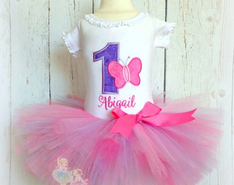 Butterfly Birthday Tutu Outfit- Pink and Purple- 1st Birthday Outfit- Custom Embroidery