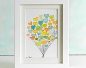Valentine's Hearts Balloons Cluster, 4x6, Original Watercolor Painting Illustration, teal, blue, green, tangerine, orange, yellow