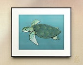 Green Sea Turtle // nautical ocean sea life // nursery art // Drawing // Digital Illustration //  // wall art // 5x7 8x10 11x14 print