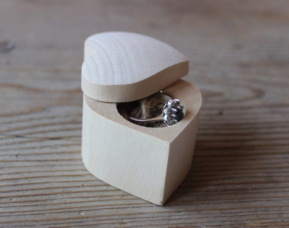 Wood ring box heart shape box engagement ring by for Heart shaped engagement ring box