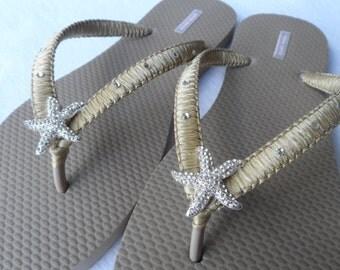 Sand Bridal Flip Flops / Starfish Rhinestone /  Color Macrame Wedding Flip Flops / Bridal Sandals /Bridesmaids Shoes..