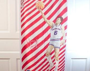 70s Julius Erving Beach Towel - Vintage Dr. J bath accessory - Philadelphia NBA 76ers - RARE