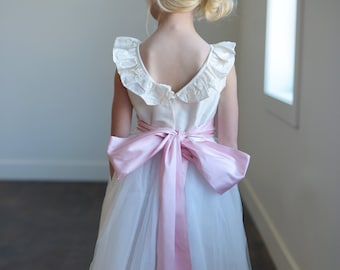 Silk and tulle flower girl dress with V back in ivory or white