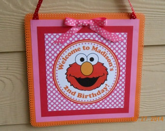 Elmo Door Sign-Sesame Street Door Sign-Elmo Birthday Sign-Sesame Street Birthday Sign-Elmo Party Decoration-Sesame Street Decoration-Girl's