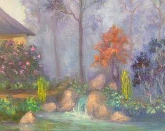 Original Zen Japanese Garden Waterfall Landscape Oil Painting 11x14