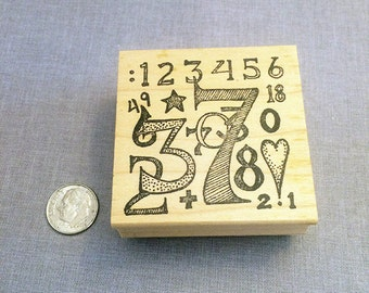 Numbers Rubber Stamp