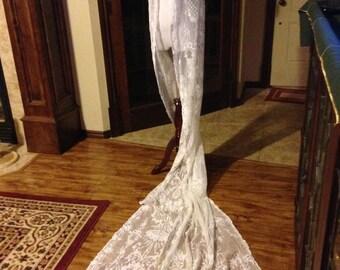 CLEARANCE!!!!  Superb Antique Tambour Lace Wedding Flounce