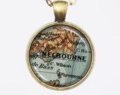 Melbourne Map Necklace, Australia, Vintage Map Pendant Necklace- Antique Map of Melbourne, Old Map Penant Series