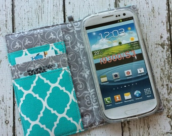 Samsung Galaxy S3, S4, S5, S6, S7 wallet with removable gel case - Aqua quatrefoil