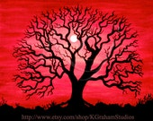Valentines RED Sky TREE 8x10 Photographic Print  from Original Painting by K Graham Spooky Tree  Blood Red Sky Full moon