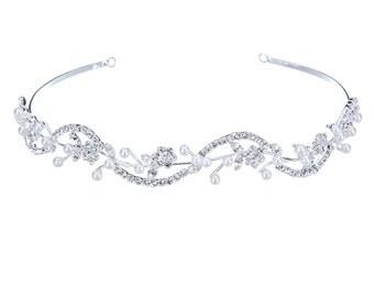 Ella Crystal and Pearl Bridal Headband, Crystal Wedding Headband