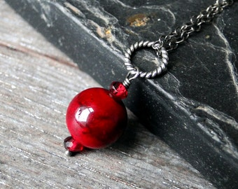 Red Quartzite Necklace with Garnet on Oxidized Sterling Silver - Scarlett by Inkin on Etsty