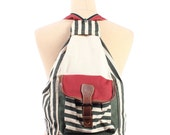 Striped Nautical Canvas Backpack 1990s Transformable Striped Knapsack Colorblock Red White Green Crossbody festival Bag Vintage Rucksack