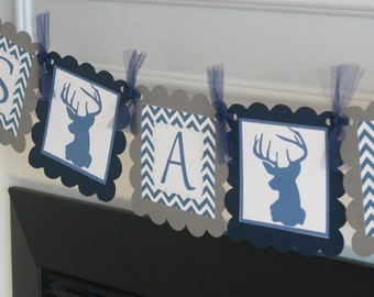 """Navy Blue & Grey Woodland Creature Baby Shower Deer Silhouette Hunter """"It's A Boy"""" Banner - Free Ship Over 65"""