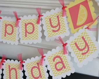 Happy Birthday Hot Pink and Yellow Lemon Lemonade Stand Banner - Cupcake Toppers, Favor Tags & Door Sign Available