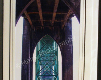 Birthday Card, Architecture Masculine Bridge Arches Green Abstract, Father's Day Card, All Occasion, Blank Greeting Card, Photo Note Card
