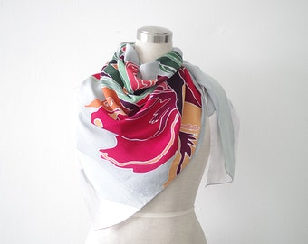 Large square scarf abstract floral design. Hand painted cotton silk shawl with red flowers and light grey. Head wrap or cover up, woman gift