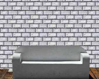 Removable Wallpaper- Whitewashed Brick- Peel & Stick Self Adhesive Fabric Temporary Wallpaper-Repositionable-Reusable- FAST. EASY.