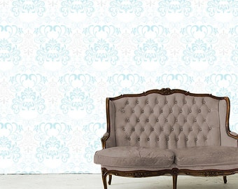 Removable Wallpaper- Orville Damask- Peel & Stick Self Adhesive Fabric Temporary Wallpaper-Repositionable-Reusable- FAST. EASY.