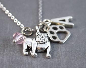 Bulldog Necklace, Personalized Dog Necklace, Pet Loss Jewelry, Bulldog Jewelry, Dog Jewelry, Pet Necklace, Animal Necklace, Dog Pendant