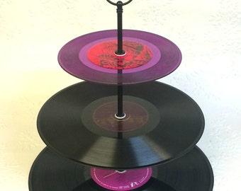 3 tier Vinyl Record Cupcake Stand Retro Cake Stand Purple  Pink