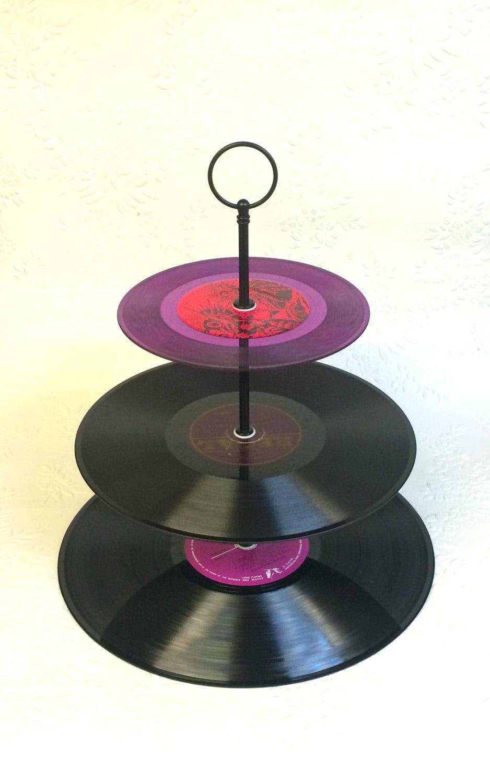 3 tier vinyl record cupcake stand retro cake stand purple. Black Bedroom Furniture Sets. Home Design Ideas