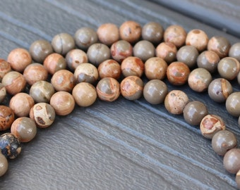 Safari Jasper Beads -  6mm Round Smooth Natural - Half or Full Strand