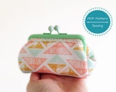 Small pouch frame purse sewing pattern, make up bag, money pouch, pdf sewing tutorial, template