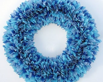 Blue Wreath - Indoor Outdoor Wreath - Spring Wreath - Summer Wreath - Beach Wreath - Rag Wreath - Weatherproof Wreath - Waterproof Wreath