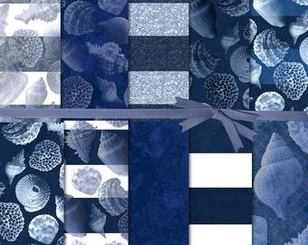 Digital Paper Glitter:Sea Shell Digital Paper, Navy Digital Paper, Blue Wide Stripe Paper, Blue Shell Digital Scrapbook Paper, #16199