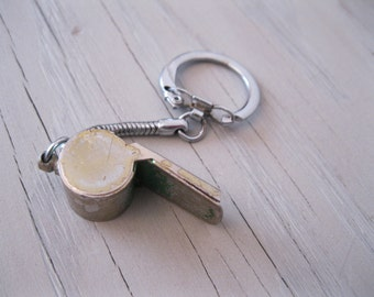 Vintage Metal Whistle Keychain - Small Green Whistle Japan