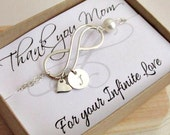 Mothers infinity bracelet mother of the bride bracelet special message gift card HUGE SALE sterling silver heart charm Thank you Mom gift