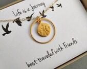 Friends compass journey necklace- gold fill, 24K gold vermeil, gift for friend graduation, compass jewelry, gift message eternity circle
