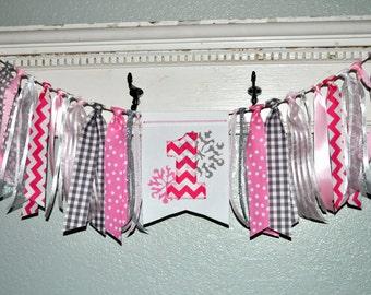Winter ONEderland Wonderland, Pink gray silver first birthday fabric highchair rag banner,1st birthday party decor cake smash photo prop