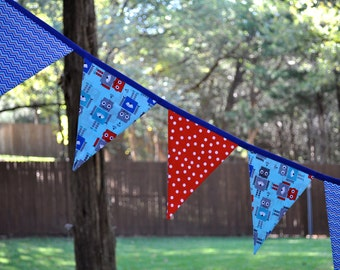 Robot fabric pennant flag banner bunting - Blue, red & aqua - Robot birthday party decor, boys bedroom flag banner, photo prop