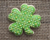 St Patrick's Day Party Favors / 4 Leaf Clover Favors / St Patrick's Day Cookies / St Patty's Day / Clover Sugar Cookies - 12 cookies