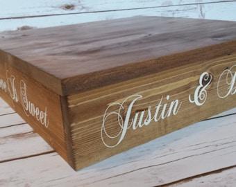 Rustic Wedding, Rustic Cake Stand, Cupcake Stand, Wood Cake Stand, Cake Box, Personalized Cake Stand, Square Cake Stand, Personalized 4 Side