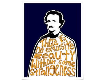 Edgar Allan Poe Art Quote Typography Poster Print Modern Bold Portrait English Literature Navy Blue Yellow 16 x 20