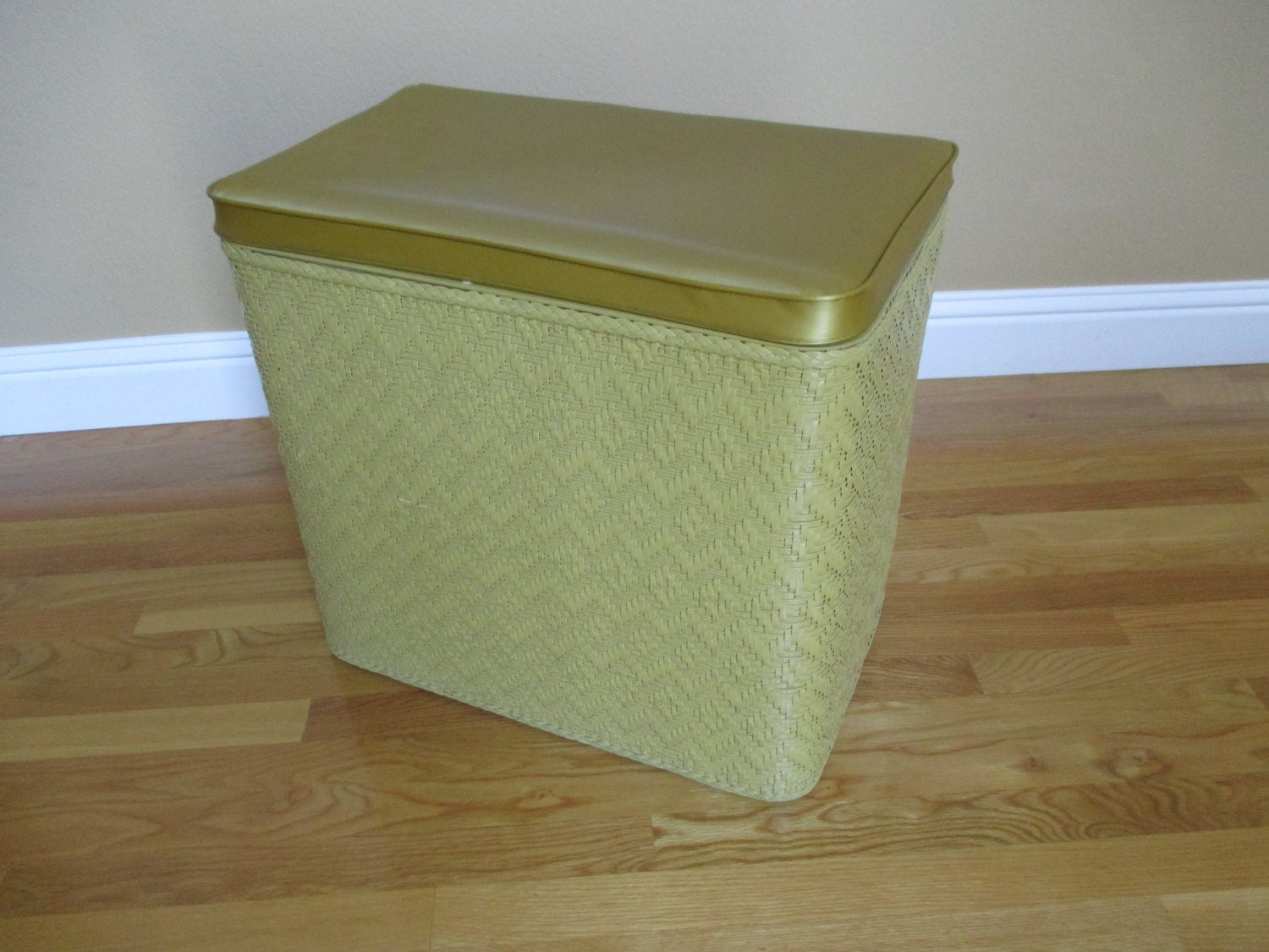 Vintage Wicker Cushioned Top Clothes Hamper By Aprilleialoha