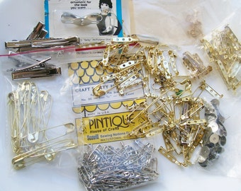 New JEWELRY CRAFT LOT Findings Safety Pins Pin/Broach Back Hair Clips Earring Base