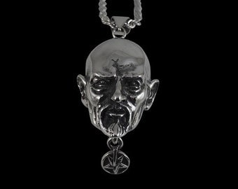 Solid 92.5% Sterling Silver Anton LaVey The Pope of the Church of Satan Pendant - Free Shipping