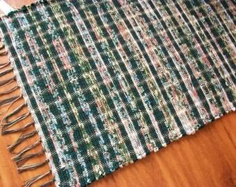Handmade  green peach and cream  loom woven rag rug  south dakota made