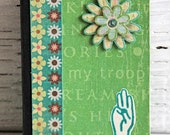 Green Girl Scout Mini Journal with Flower and Three-Finger Salute, Altered Composition Book, Pocket Notebook, Stories of Troop Adventures