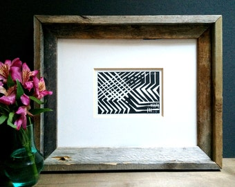 Linocut Print - Intersecting Patterns 4 x 6 Block Print - pw00056