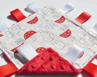 Baby Neutral Lovey comforter Bunnies Fabric Red Minky toddler taggie blanket - Baby neutral gift idea