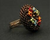 Sale / Flower copper ring. Beaded ring