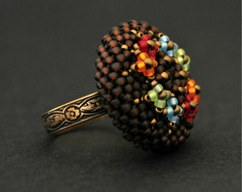 Sale / Flower copper ring. Beaded ring