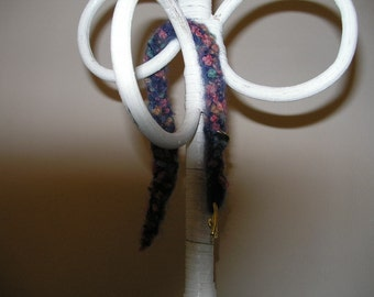 Felted Blue-purple, Turquoise and Peach Dog Collar