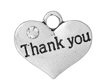 "Thank You Heart Charms - Antique Silver - Carved ""Thank You"" Pattern - 16.5x14.5mm - 5pcs - Ships IMMEDIATELY from California - SC1122"