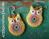 OWL EARRINGS 'yellow' by ATERGcrochet